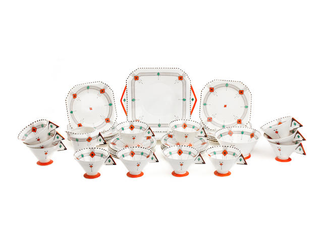 A Shelley Vogue shaped 'Diamonds' pattern part tea service Circa 1928