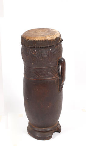 A Kuba drum, D.R.Congo, 73cm high
