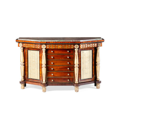 A Regency rosewood brass inlaid and carved giltwood side cabinet, circa 1817   attributed to George Bullock