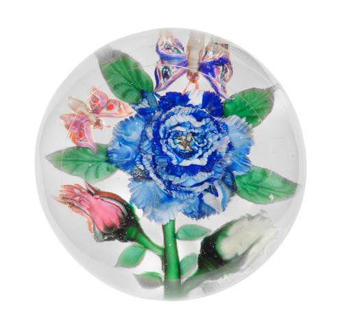 A rare Mount Washington Glass Co. magnum flower paperweight, circa 1870-90