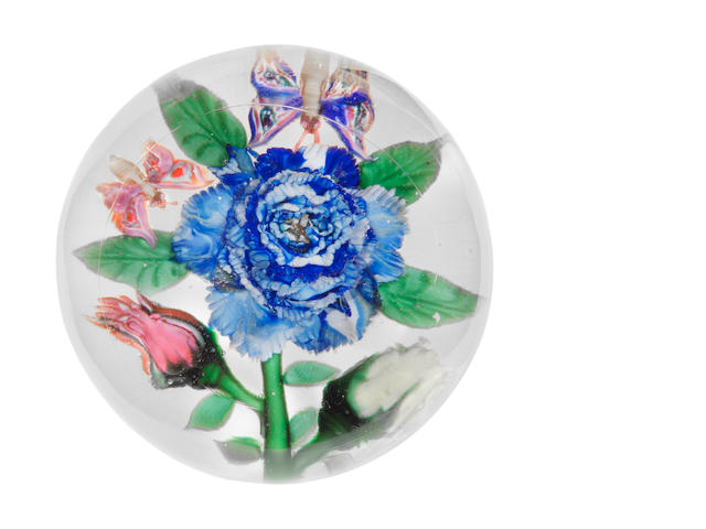 A Mount Washington magnum bouquet glass paperweight with blue rose, two buds and two butterflies, diameter 4 1/8in