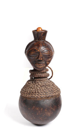 A Songye medicine gourd D. R. Congo 23cm high
