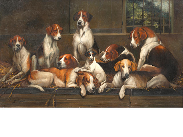 Follower of John Emms (British, 1843-1912) Group of hounds