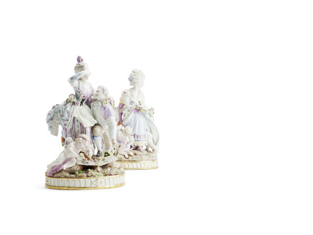 A pair of Meissen figure groups Late 19th/early 20th century