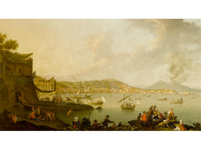 Pietro Fabris (Naples circa 1740-1792) A view of the Bay of Naples from Posillipo looking south with the Palazzo Donn'Anna, the Castel dell'Ovo and Vesuvius beyond