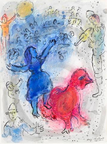 Marc  Chagall (1887-1995) L'Écuyère bleu au coq rouge