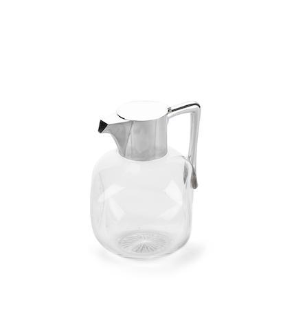 A Victorian silver mounted glass claret jug, by Heath & Middleton, Birmingham 1890,