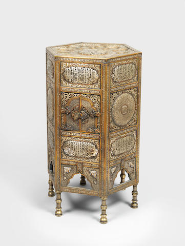 A Mamluk revival silver-inlaid copper Qur'an Stand (kursi) Egypt or Syria, first half of the 20th Century