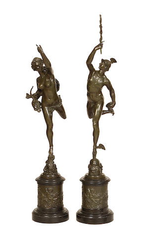 After Giambologna, Italian (1529-1608) A pair of late 19th century bronze figures of Mercury and Fortuna