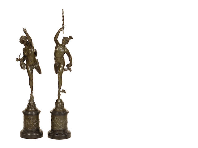 A pair of bronze figures of Mercury and Fortuna