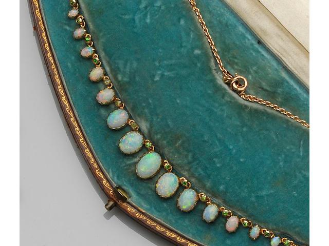 An Edwardian opal and demantoid garnet necklace