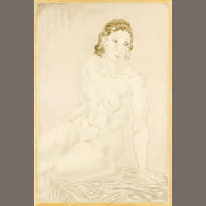 Léonard Tsuguharu Foujita (Japanese/French, 1886-1968) Nue assise Etching, in colours, on chine applique, signed and numbered VI/VI in pencil, 585 x 390mm (23 x 15 3/8in)(PL)
