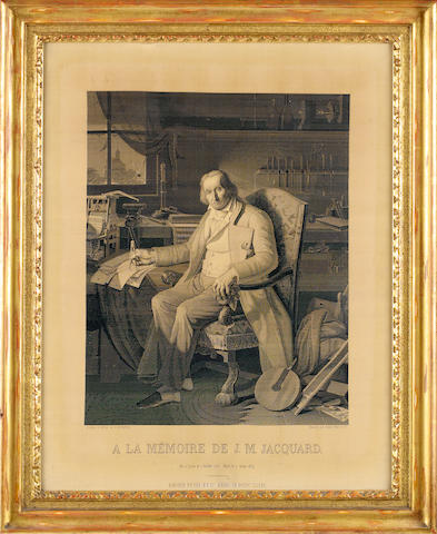 Joseph-Marie Jacquard (1752-1854) - a fine woven silk La Mémoire portrait Executed in 1839 on the programmable Jacquard loom by Didter Petit et cie, Lyon,