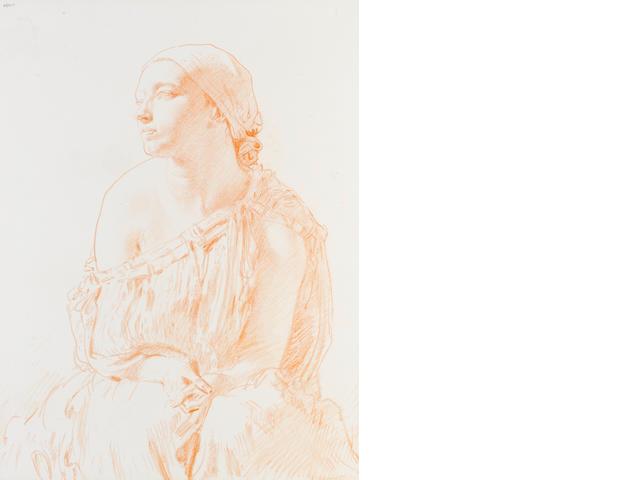 Sir William Orpen, R.A., H.R.H.A. (British, 1878-1931) Study of a woman 60 x 45 cm. (23 1/2 x 17 3/4 in.)