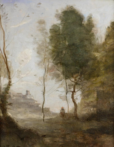 Jean-Baptiste-Camille Corot (French, 1796-1875) Etude de Paysage- Souvenir d'Italie