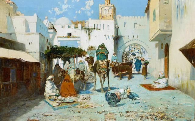 José Navarro Lloréns (Spanish, 1867-1923) Zoco Tánger, Morocco