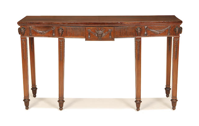 A second quarter 20th century mahogany serving tablein the Adam style