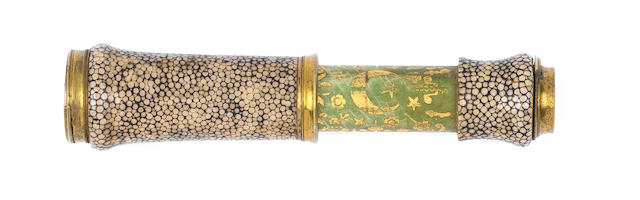 An attractive shagreen spyglass telescope, English, first quarter of the 18th century,