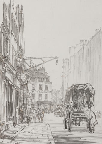 Muirhead Bone (British, 1876-1953) French Street Scene, Rathbone Place