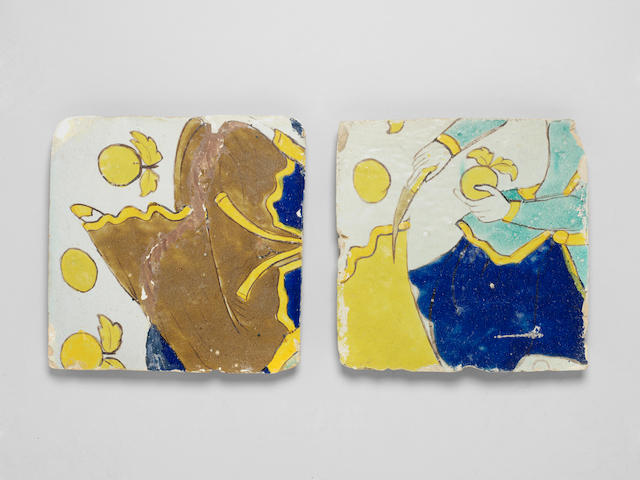 Two Safavid cuerda seca pottery Tiles Persia, 17th century(2)