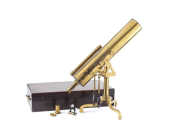 A 4-inch portable brass Gregorian reflecting telescope,  English,  circa 1780,