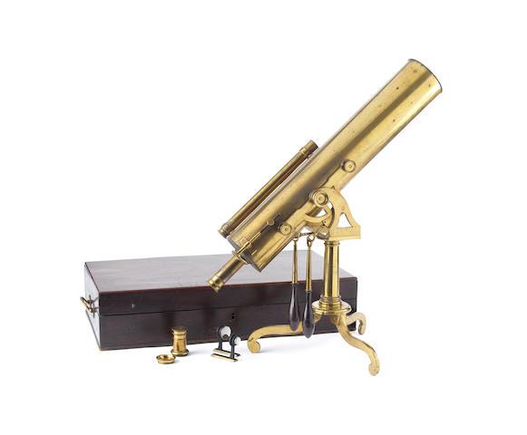 A 4-inch portable brass Gregorian reflecting telescope,  English,  circa 1780,