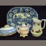 A large collection of blue and white ceramics