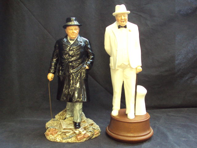 Two Royal Doulton figures of Winston Churchill