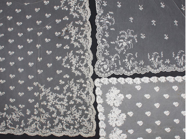 Lace including two tamboured veils