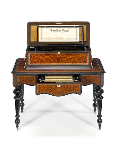 A 'Mandoline-Piccolo' interchangeable musical box-on-stand, by Mojon Manger & Co., circa 1889,