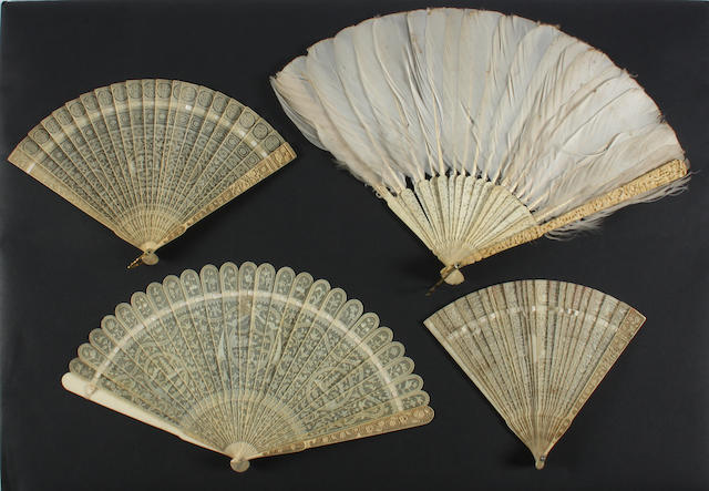 Four Chinese late 18th/early 19th century brisé fans