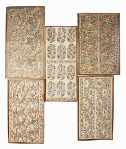 Five 18th century framed Turkish towel ends