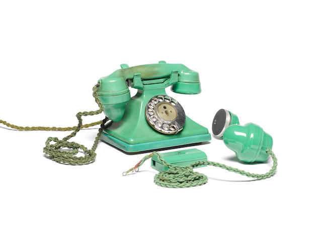A 200-series green bakelite telephone, pre-war model, impressed mark PL36 164 234,