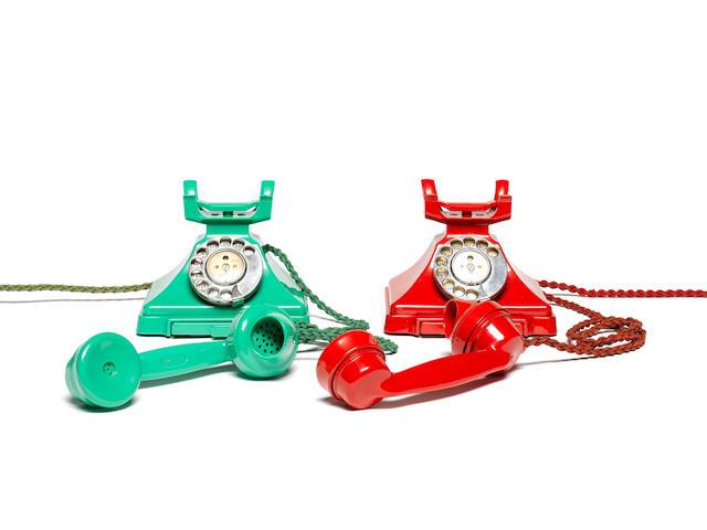 A 200-series green bakelite telephone, impressed mark 164 55,