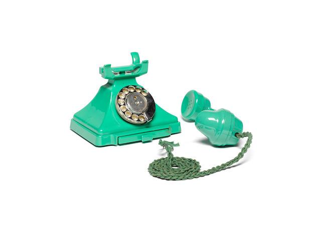 A 200-series green bakelite telephone, pre-war model, impressed mark FH45 164 1,