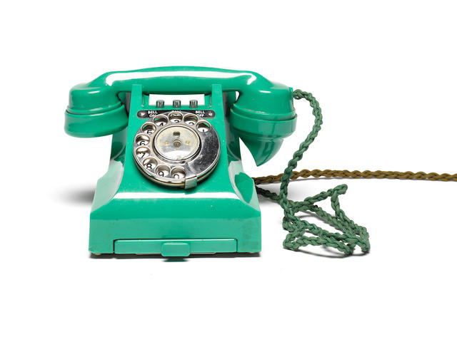 A good type 314L green bakelite telephone, impressed mark 164 52,