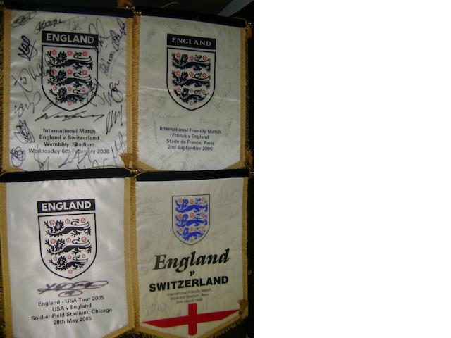 1998 - 2005 England hand signed match pennants