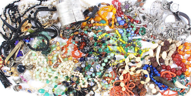 A large group of costume jewellery