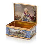 A gold-mounted Meissen blue-scale-ground snuff-box with a portrait of Ludwig VIII, Landgrave of Hessen-Darmstadt, circa 1755