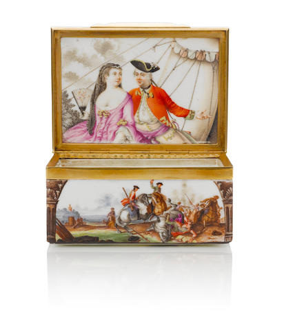 A Meissen box painted with battle scene circa 1750-60