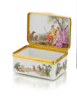 A Meissen gold-mounted rectangular snuff box, circa 1753-55