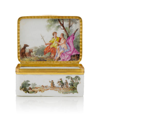 A gold-mounted Meissen rectangular snuff-box, circa 1753-55