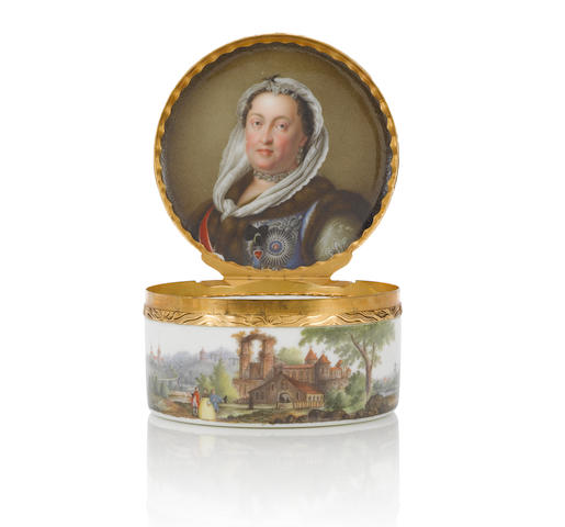 A fine Meissen gold-mounted circular snuff box with a portrait of Maria Josepha, Electress of Saxony and Queen of Poland, circa 1755