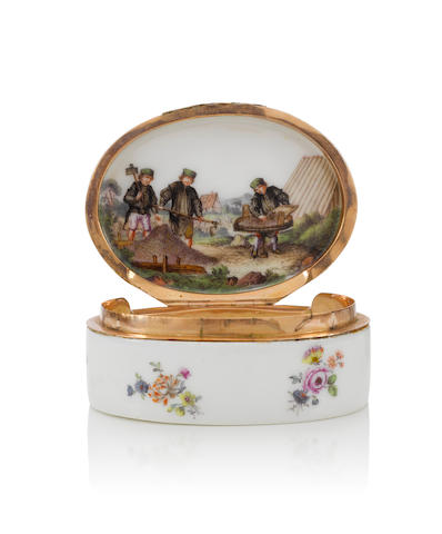 A silver-gilt-mounted Meissen oval snuff-box, circa 1755