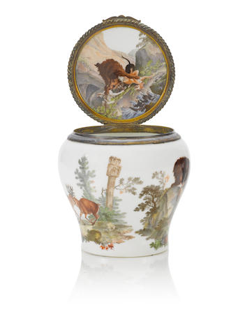 A Meissen tobacco pot with wild animal scenes after J.E. Ridinger circa 1750-60