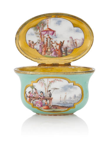 A Meissen silver-gilt-mounted sea-green-ground oval snuff box circa 1730