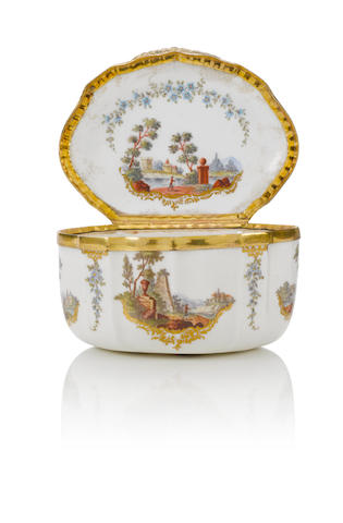 An Ansbach box with landscape vignettes circa 1770-80