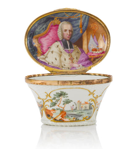 An important Ellwangen or Schrezheim gilt-metal-mounted oval snuff box with a portrait of Fürstprobst Anton Ignaz Josef Graf von Fugger, circa 1769