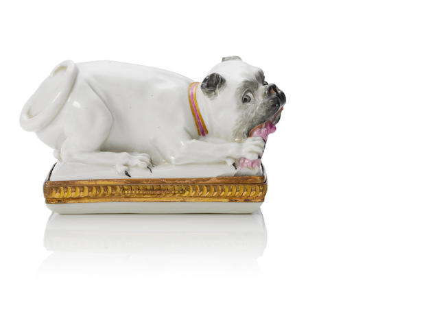 A Schrezheim box in the form of a pug circa 1761-70