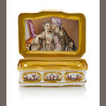 A Meissen box with lady and gentleman circa 1730-35